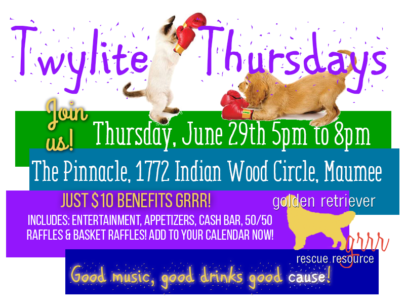 Golden Retriever Rescue Resource fundraising event, Twylite Thursday, benefiting Golden Retriever Rescue Resource, serving Ohio, Michigan and Indiana