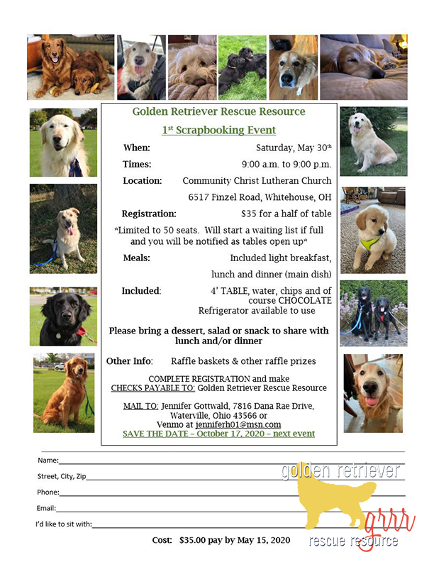 Scrap booking event information benefiting Golden Retriever Rescue Resource