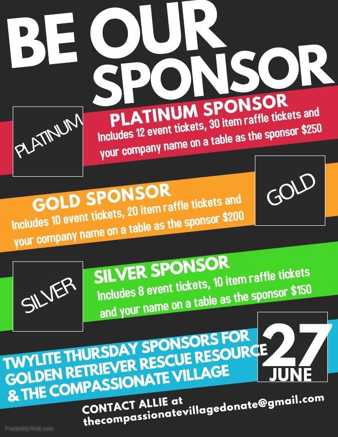Sponsorship information for Twylite Thursday fundraising event for Golden Retriever Rescue Resource