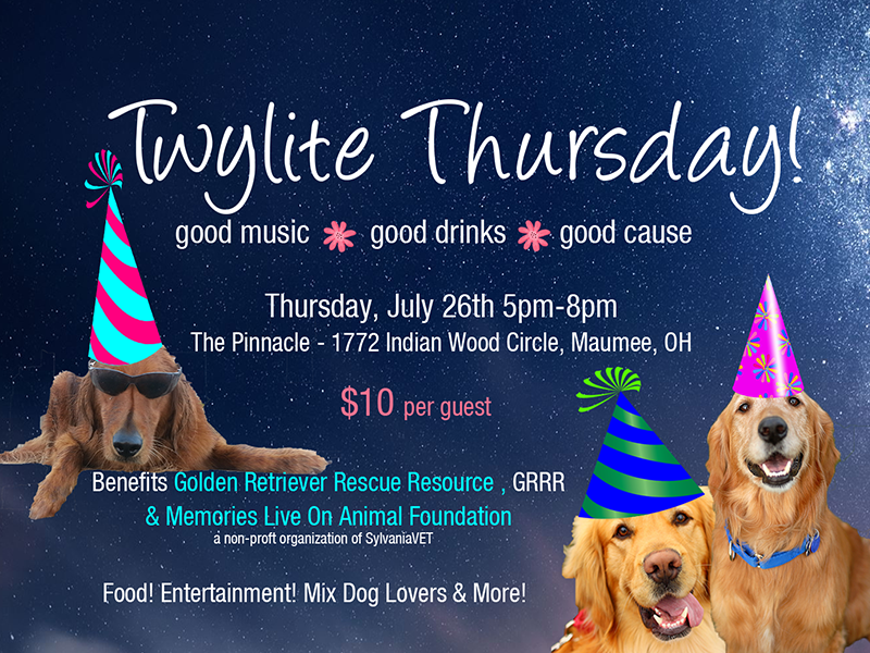 Twylite Thursday fundraising event for Golden Retriever Rescue Resouce in Toledo Ohio, serving Ohio, Michigan and Indiana.